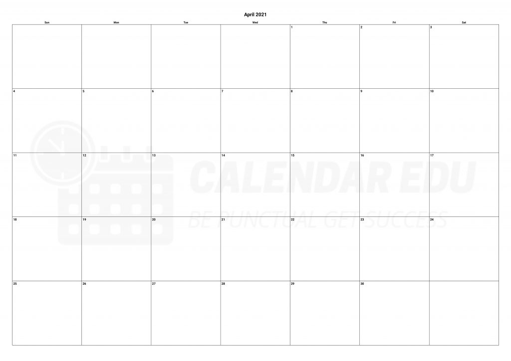 best printable April 2021 calendar templates download