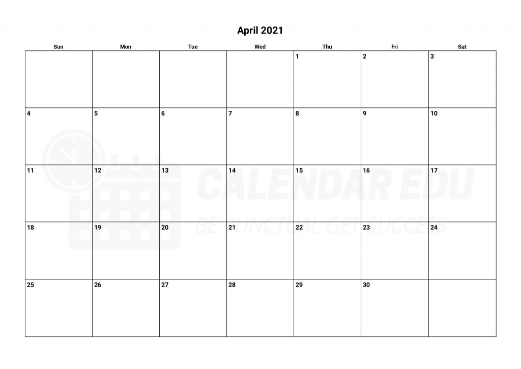 Top April 2021 calendar to print and download for education