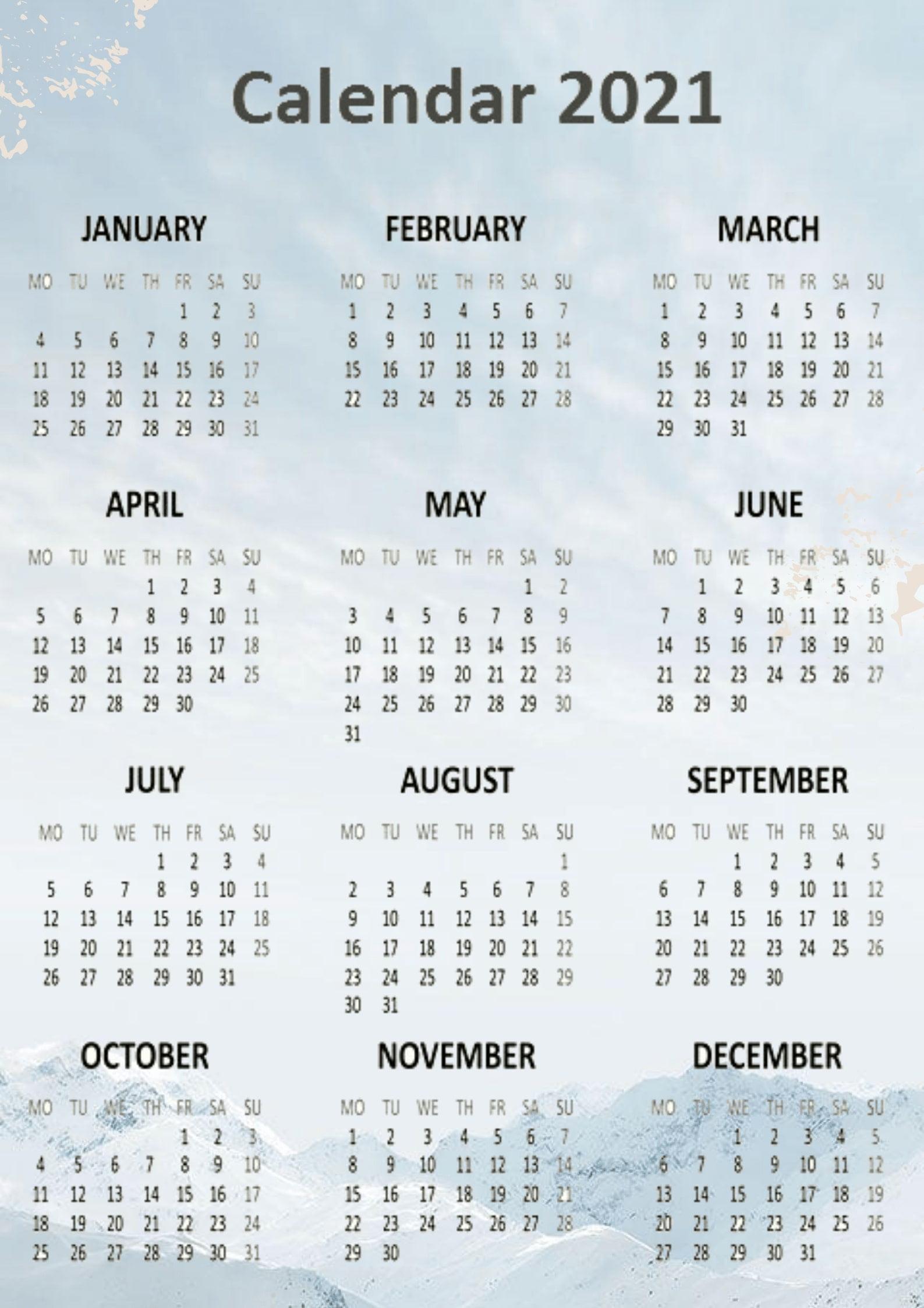 Free Yearly 2021 Calendar Printable Templates Calendar Edu