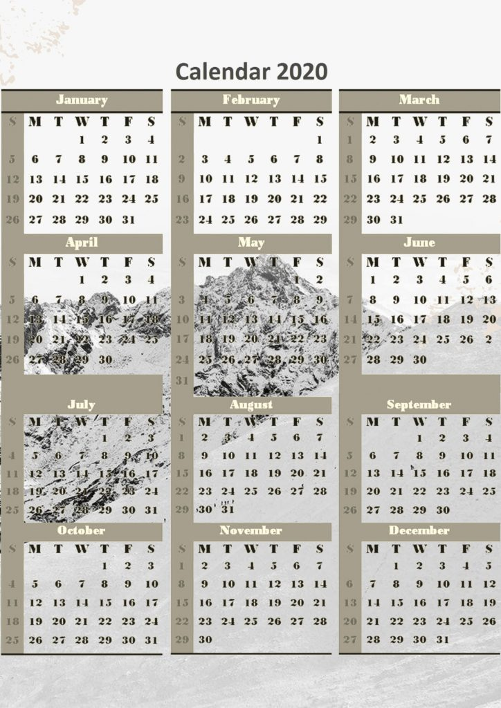 One page free 2020 calendar printable download