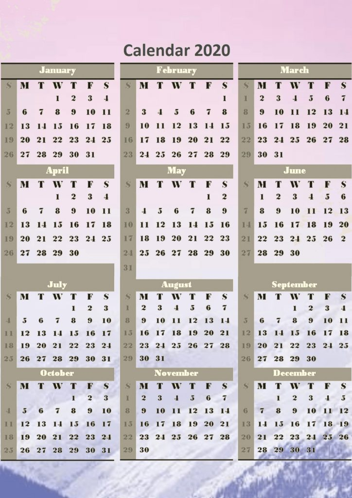 One page 2020 yearly calendar templates