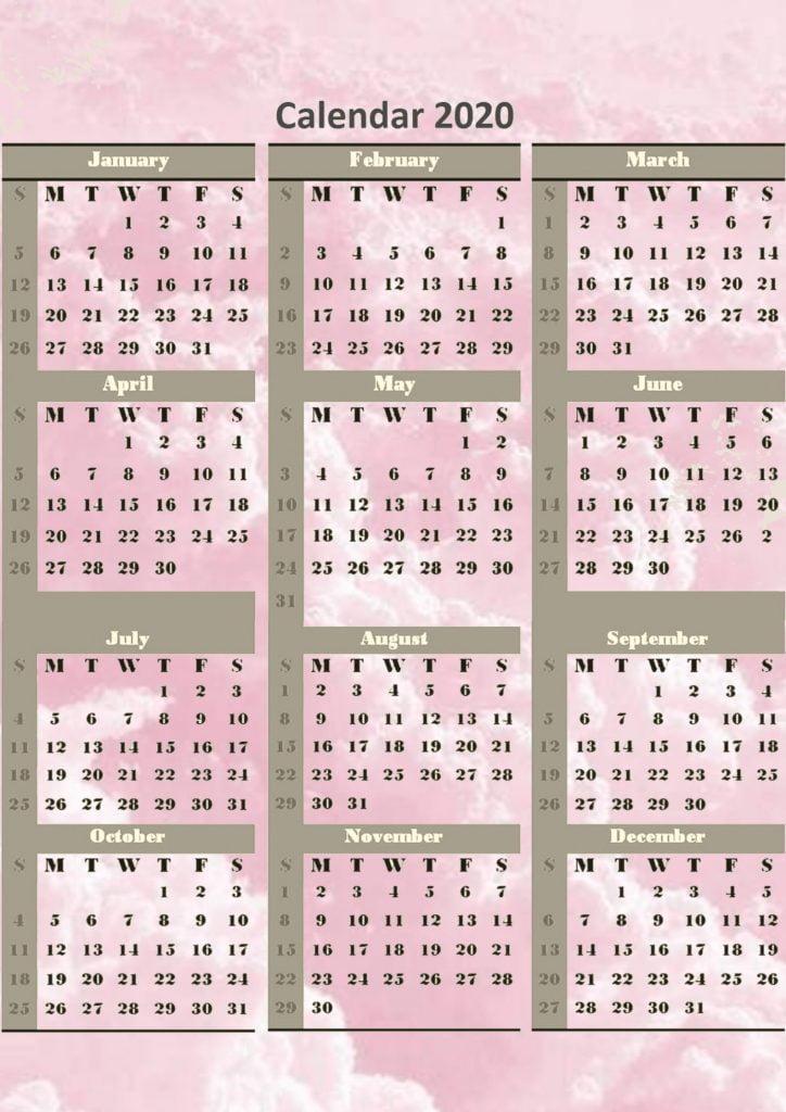 Calendar 2020 Printable Templates Free