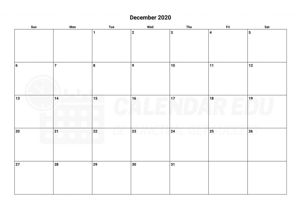 Best December 2020 calendars Printable templates download for free