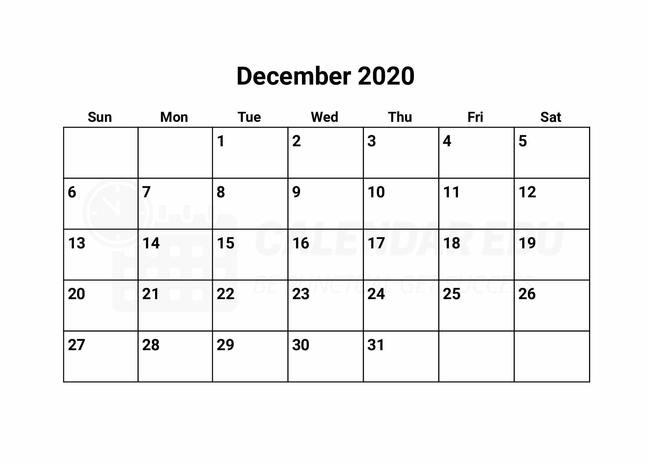 December 2020 calendar printable templates for Free