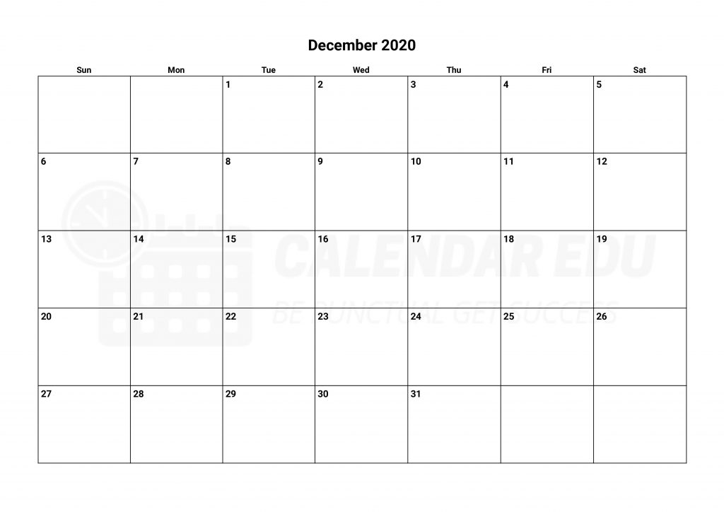 Top printable December 2020 calendars templates to download