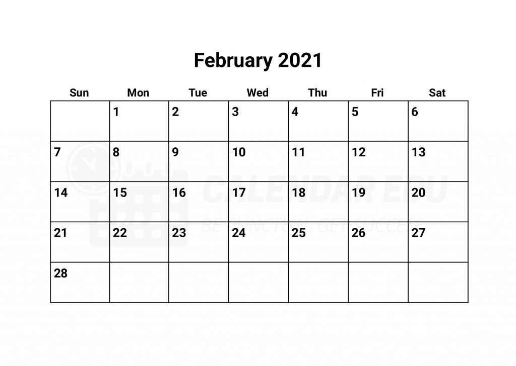 February 2021 calendars printable download