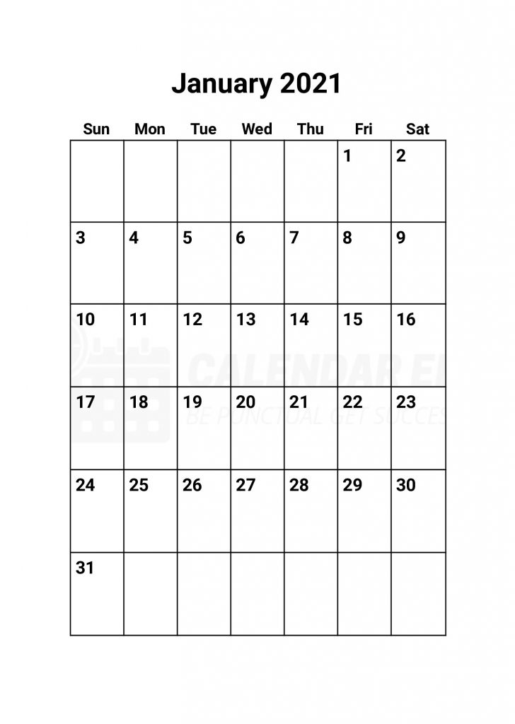 Top January 2021 calendars Printable templates