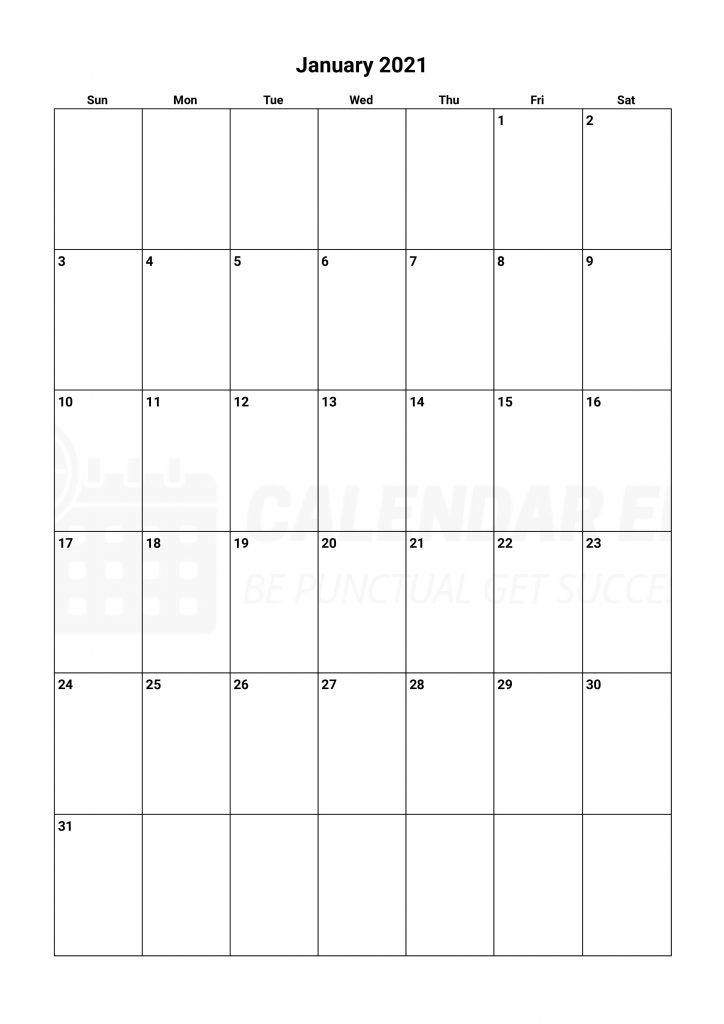 January 2021 calendars to print for free