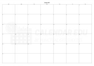 Best blank January 2021 calendars printable to download