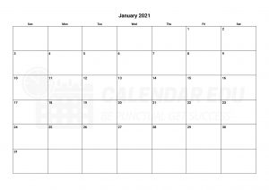 January 2021 calendar blank printable templates for free