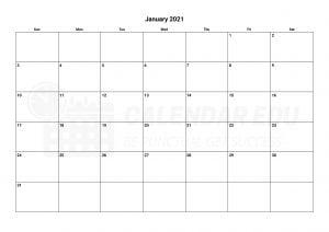 January 2021 calendar blank printable templates for free