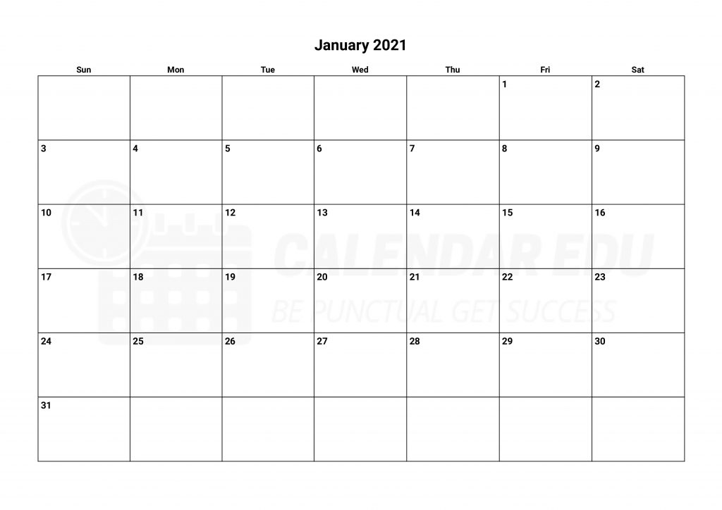 Top January 2021 calendars to Print for free