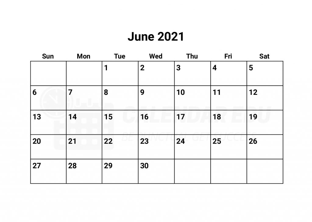 Best June 2021 calendars templates Printable and free