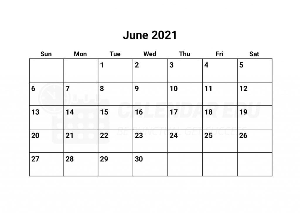Free June 2021 Calendars | 2021 Blank Printable Templates