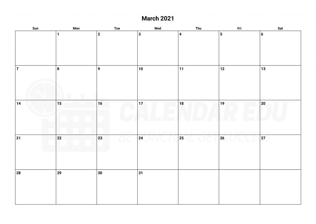 Top Printable march 2021 calendar templates for free