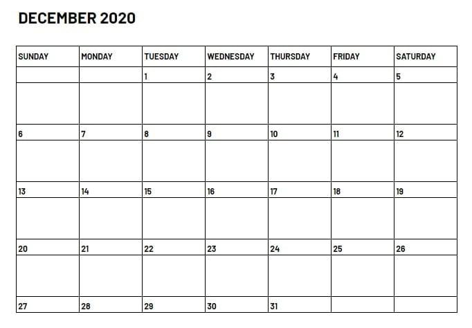 December 2020 Calendar Printable With Notes
