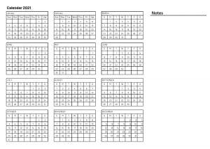 2021 Printable calendar with notes