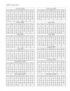 2021 one page blank printable calendar