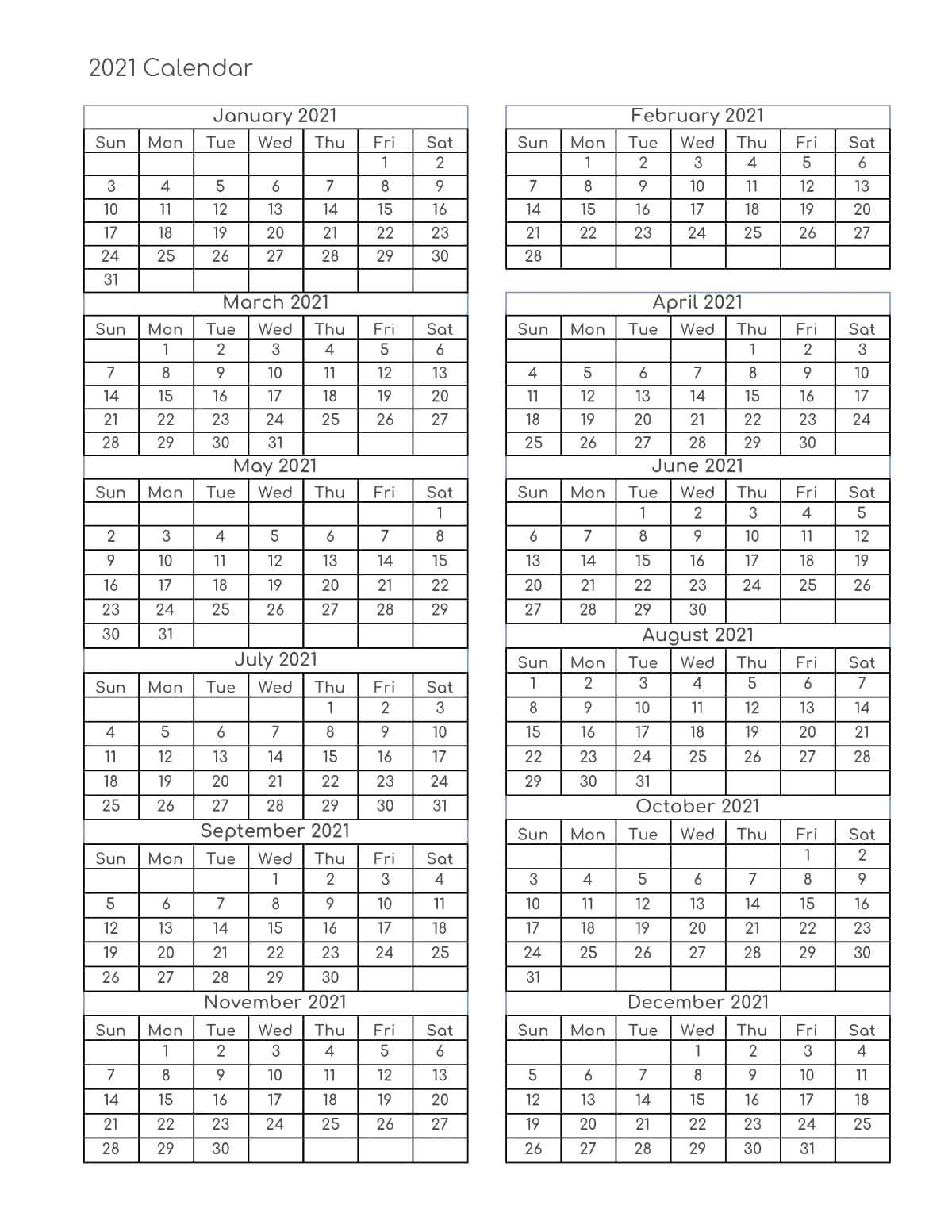 Free Yearly 2021 Calendar Printable Templates - Calendar Edu