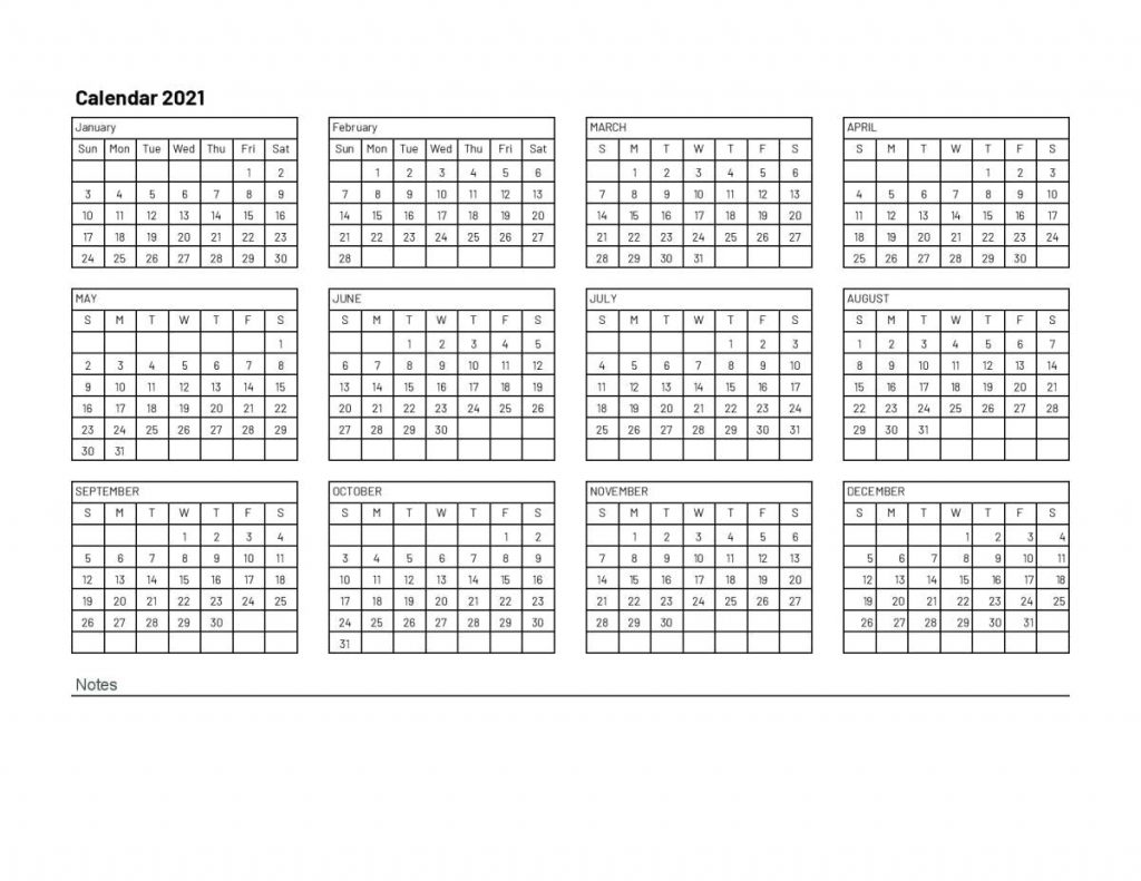 2021 one page calendar with notes