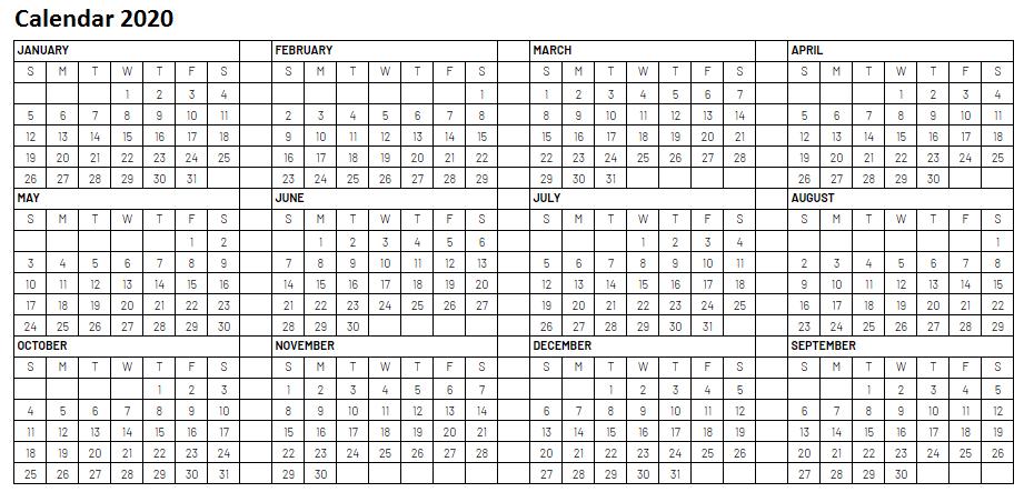 2020 Blank Yearly Calendar Printable